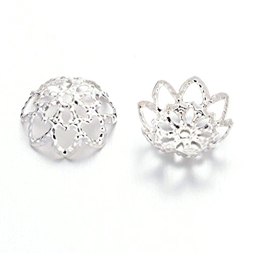 Pandahall 100pcs/10g Silver Iron Flower Bead Caps Filigree 9x4mm for Jewelry Making