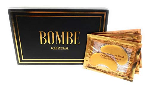 BOMBE Luxury Gold Eye Treatment Mask (16 pairs) -Reduces Dark Circles, Puffiness, Fine Lines, Under Eye Bags, and Wrinkles with Anti-Aging Ingredients to Hydrate, Tighten, and Sooth Your Skin!