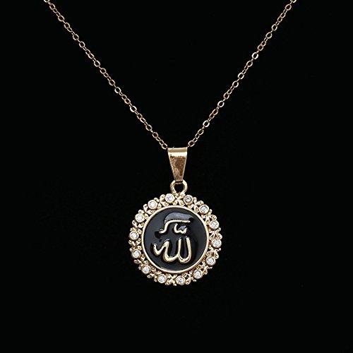 18k gilded ornaments Hui Allah necklace pendant women girls circular inlay zircon necklace pendant Islam