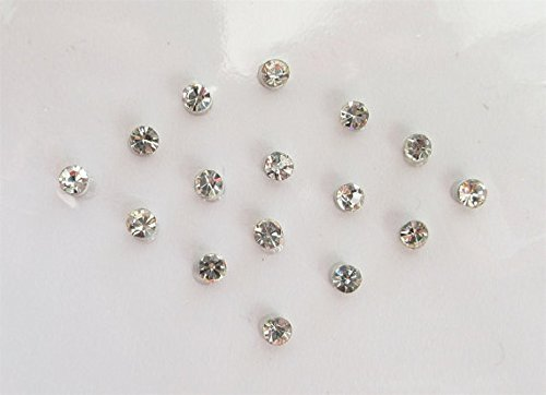 15 Silver 2 mm Clear Crystals Stick On Jewels, Fake Nose Stud, Costume Jewels, Stone Bindis, Stone Face Jewels ultimate fab stuff 2mmSilver