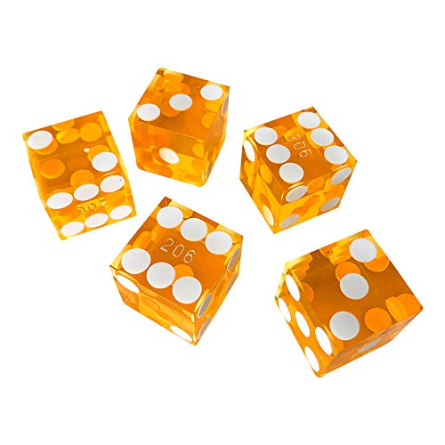 (YH Poker Set of 5 Precision 19mm Seriallized Casino dice with Razor Edges and Corners (Yellow))