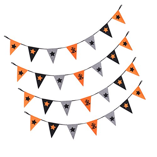 Spirt Halloween (Jili Online 4pcs Halloween Banner Hallowmas Pumpkin Bunting All Hallows' Day Haunted House Evil Spirt Props Decoration Felt 2.5m)