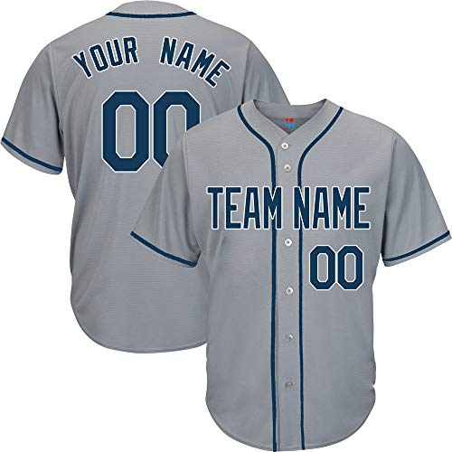 Gray Custom Baseball Jersey for Youth Button Down Embroidery Team Player Name & Numbers,Navy-White Size L
