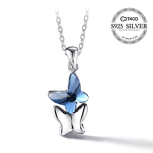 T400 Blue Purple Pink Butterfly Pendant Necklace Made with Swarovski Elements Crystal ♥ Birthday Gift for Girls ()