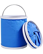 Collapsible Oxford Bucket 11L Foldable with Metal Handle for Camping Traveling Fishing Outdoor Survival and Car Storage Container