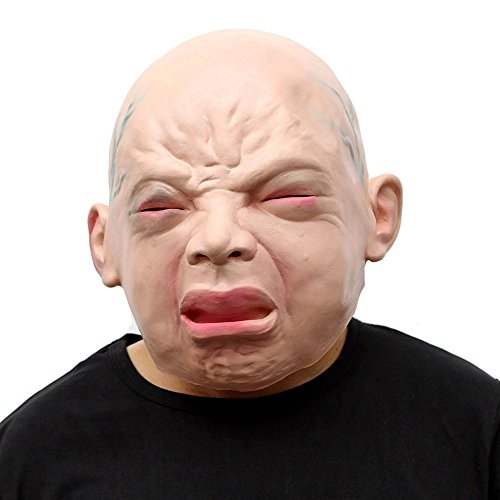 TTLIFE Novelty Halloween Costume Party Latex Head Mask Human Baby Face Mask/ Halloween Party Mask Crying Baby Party Masks (white) (Diy Scary Halloween Masks)