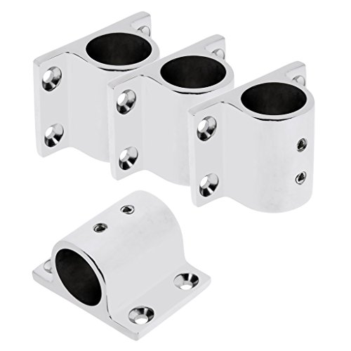 MonkeyJack 4 Pieces Marine Boat Yacht Hand Rail Fitting 90 Degree Rectangle Stanchion Base Mount Hardware for 1'' 25mm Tube - 316 Stainless Steel ()