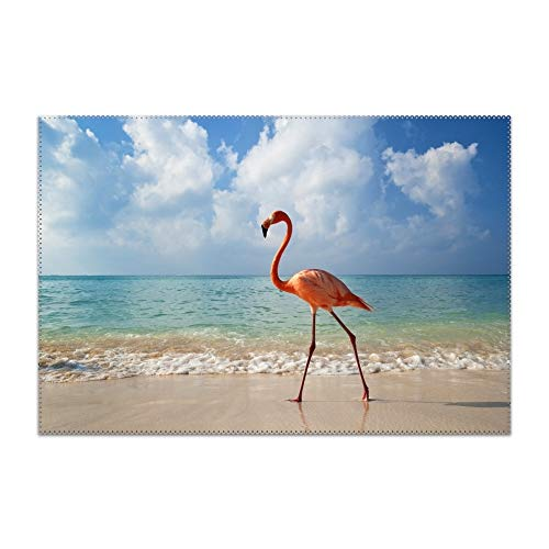 YLJH Placemats Heat-Resistant Anti-Skid Washable Dining Table Place Mats Kitchen Table Mats (Flamingo Bird Beach Sea)]()