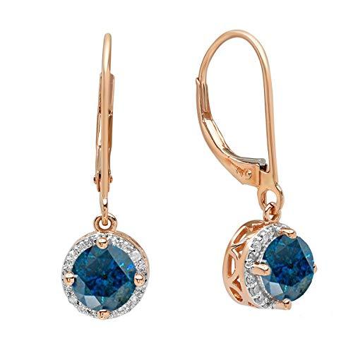 (Dazzlingrock Collection 1.10 Carat (ctw) 18K Round Blue & White Diamond Halo Dangling Drop Earrings 1/10 CT, Rose Gold)