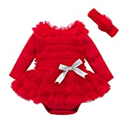 WuyiMC Princess Dresses for Girls, Baby Girl Lovely Ruffles Party Romper Jumpsuit Wedding Christening Lace Tutu Dress with Headband (0-3 Months, Red)