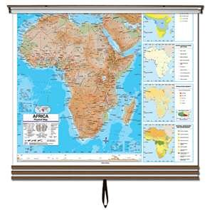 Eastern Hemisphere Advanced Physical Wall Map Set on Roller w/ Backboard; 3-Map Set