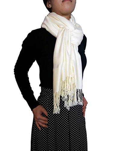 """Opulent Luxury Women Pashmina Cashmere Scarf Shawl Wrap Soft Ivory 80"""" x 30"""""""