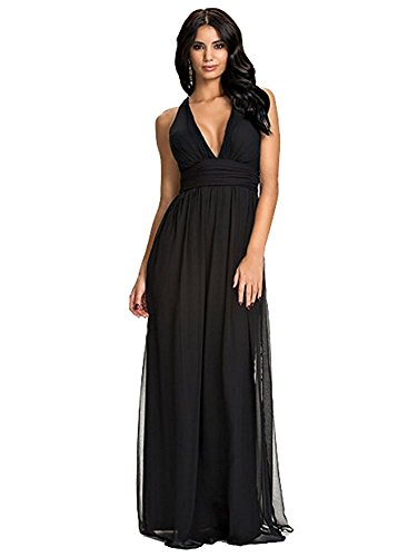 KDHJJOLY Comfortable Women's Sexy Backless Cross Strap Sleeveless Chiffon Long Maxi Dress BlackLarge Effective - And Shop Gabbana Dolce London