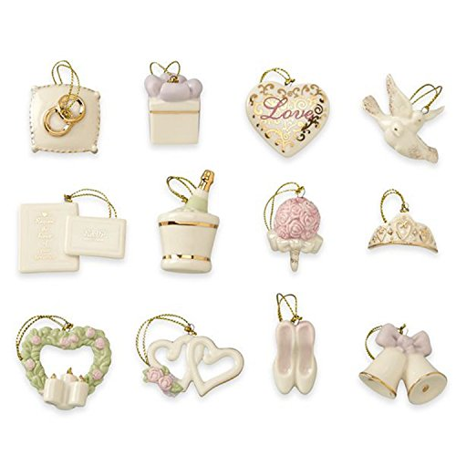 Lenox Wedding Miniature Tree Ornaments Set 12 Bridal Dove Heart Bells Shoes NO TREE