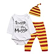 3Pcs Outfit Set Baby Boy Girl Infant Snuggle this Muggle Rompers (0-3 Months, White03)