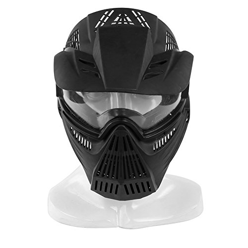 YASHALY Airsoft Mask, Adjustable Full Face Army Military Tactical Gear with Goggle Eye Protection for Paintball CS Game BB Gun and Party (Black)