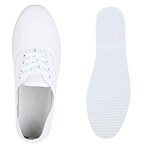 Stiefelparadies Damen Herren Unisex Sneaker Low Basic Flandell Weiß
