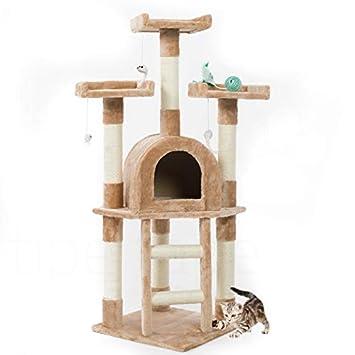 Rascador con cesto para gatos - Parque de juegos para gatos, 115 cm, beige: Amazon.es: Bricolaje y herramientas