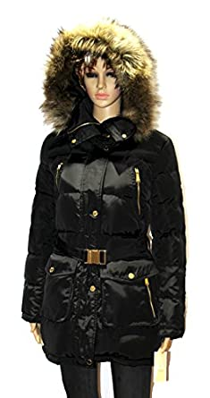MICHAEL Kors women's Faux Fur Belted Down Coat winter ...