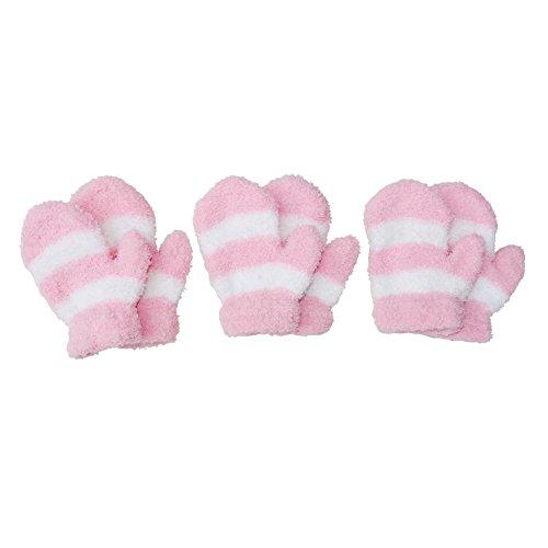 RSG Baby Mittens Soft Fuzzy & Warm 3-Pack (Pink/White)