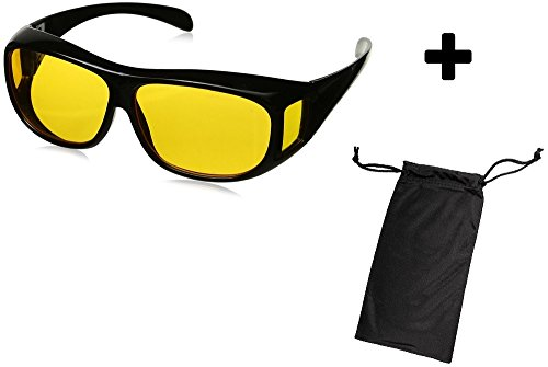 HD Night Vision Wraparounds Wrap Around Glasses w/Free Micro Fiber Bag