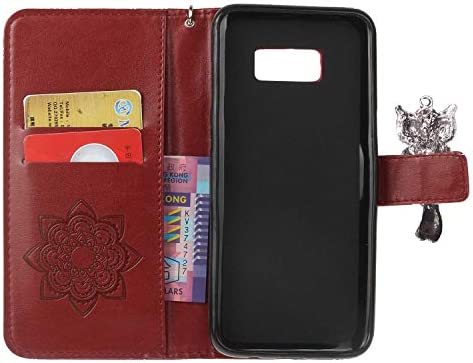Galaxy S8 Plus 防塵 ケース, CUNUS レザー ケース, 開閉式 軽量 ケース, 付き 可愛 耐汚れ カード収納 カバー Samsung Galaxy S8 Plus 用, レッド
