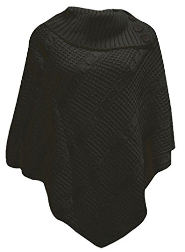 Les-femmes-Poncho-3-bouton-pull-cardigan-tricot-PONCHO-3-BUTTON-CABLE-NET-JUMPER-CARDIGAN-KNITTED-Taille-plus-4446-Noir