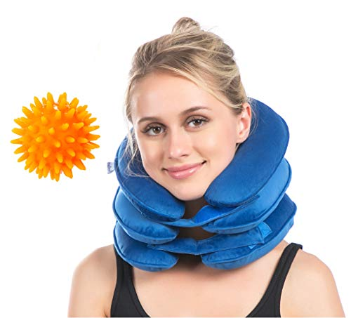 - Cervical Neck Traction, Neck Brace, Instant Neck Shoulder Pain Relief at Home, Adjustable Velvet Stretcher Collar w/Massage Ball Blue