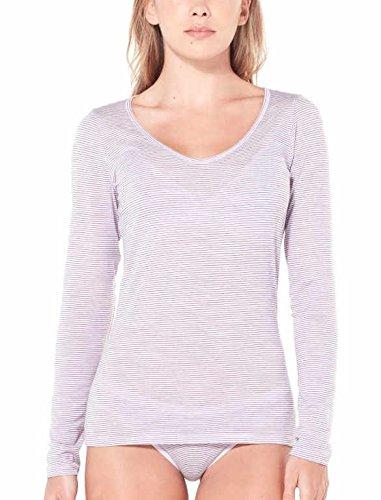 Heather En Femme Siren Icebreaker T Manches Cœur Blush shirt Stripe Avec Longues Pour Décolleté WZxnUzFx