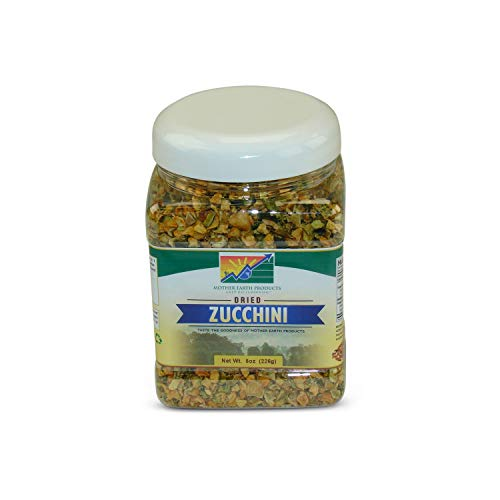 Mother Earth Dried Zucchini (One Full Quart Plastic Jar, 8oz, 226g)