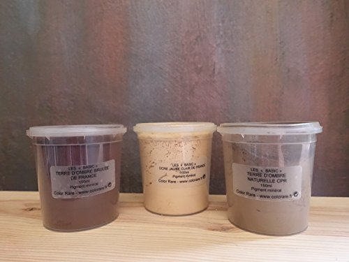 ction - 3 Pack Natural Mineral Pigment Pack (150 ml|5OZ EA): Light Yellow Ochre France | Natural Umber CPR | Burnt Umber France ()
