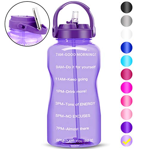 BuildLife Gallon Water Bottle Dishwasher Safe Wide Mouth Leakproof – BPA Free with Straw &Phone Holder Handle/Reminder…