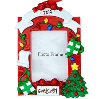 Red Picture Frame Personalized Ornament - (Unique Christmas Tree Ornament - Classic Decor for A Holiday Party - Custom Decorations for Family Kids Baby Military Sports Or Pets)