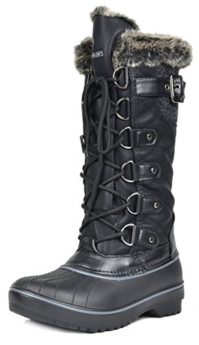 DREAM PAIRS Women's DP-Avalanche Black Faux Fur Lined Mid Calf Winter Snow Boots Size 12 M US