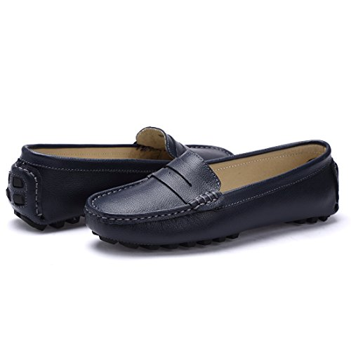 Loafers Driving Flat 818blue FashionOstyle Women's Penny Moccasins Boat Casual Slip On Shoes Leather Ex6ZnCwq