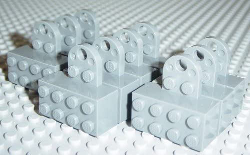 Lego Dark Bluish Gray Brick, Modified 2 x 4 Sealed Base with Magnet and Extension Plate with 2 Studs and Hole x10 Loose