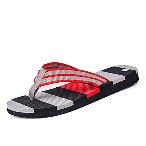 Men Fashion Summer Beach Stripe Flip Flops Shoes EVA Sandals Gray 9.5 by BEACHR
