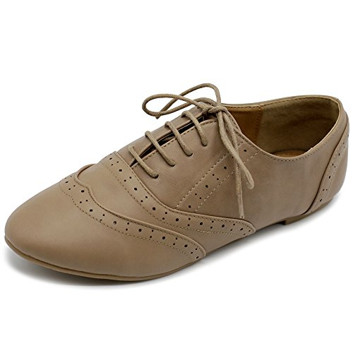Ollio Women's Shoe Classic Lace Up Dress Low Flat Heel Oxford M1914(9 B(M) US, Taupe)