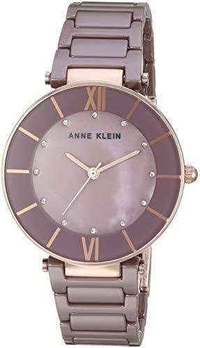 Anne Klein Women's AK/3266MVRG Swarovski Crystal Accented Mauve Ceramic Bracelet Watch ()
