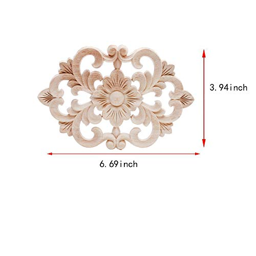 Beoot European Style Wooden Carved Onlay Appliques Wood Carving Decal Unpainted Furniture Bed Door Cabinet Decor (17×10cm/6.69×3.94inch)