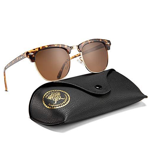(Mens Sunglasses Polarized Retro Classic Semi Rimless Sun Glasses for Women Vintage UV400 Protection With Case (Tortoise, Brown))