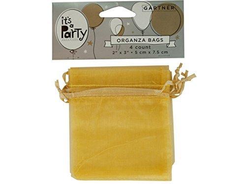 Kole Imports PB595 Gold Organza Bags with Ribbon Ties
