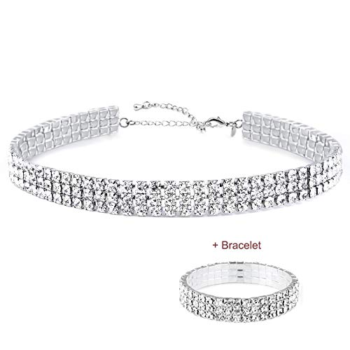 Zealmer Daycindy 3 Rows Clear Rhinestone Choker Necklace & Bracelet for Women Silver Tone 3 Row Stretch Rhinestone Bracelet