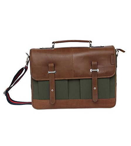Leather Canvas Messenger Bag for Men and Women 15 inch Laptop Vintage Satchel Business Briefcase Shoulder Bag for Everyday Use, Back to school by Tortoise (Green)