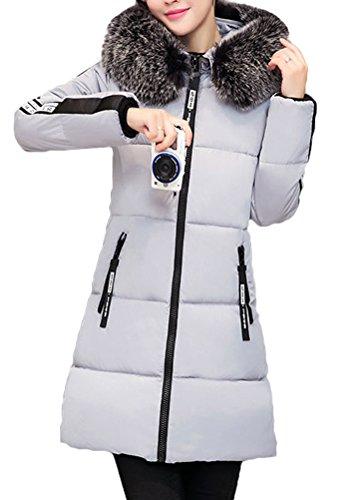 a0b4c72bea53 Fausse Zip Fourrure Coat Long Jacket Parka Veston Uni Hoodie Femme Hiver  Chaud Veste Gris Mileeo Capuche Doudoune Manteau ...