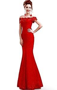 Babyonlinedress Babyonline Off Shoulder Lace Red Mermaid Evening Formal Bridesmaid Dress