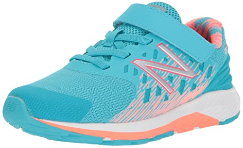 New Balance Girls' Urge v2 Hook and Loop Running Shoe, Ozone Blue/Vivid Coral, 3 XW US Infant