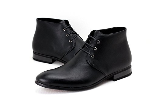 Taille JAS Cheville Hommes Rétro Décontractées Bottes Noir Lacets Cuir Habillées UK Chaussures habilléà Faux gpfBPqw