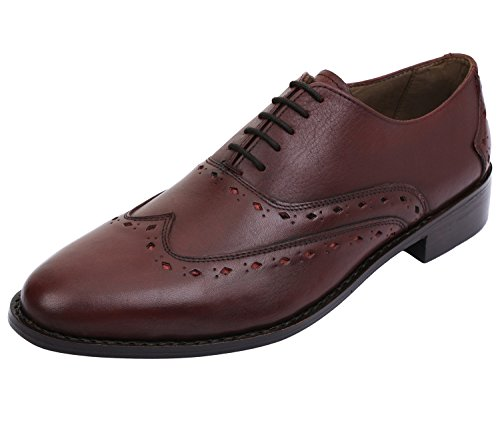Burgundy Oxfords Shoes (Lethato Wingtip Oxford Goodyear Welted Formal Handmade Leather Dress Shoes- Burgundy-2)