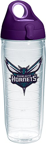 Tervis 1231045 NBA Charlotte Hornets Tumbler with Emblem and Purple Lid 24oz Water Bottle, Clear by Tervis